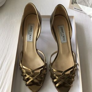 Jimmy Choo gold heels, size 37.5